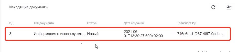 Список исходящих документов в УТМ